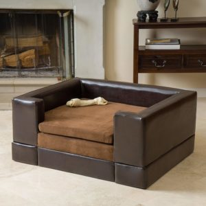 Rover Large Chocolate Brown Leather Pet Sofa Bed