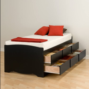 The Prepac Oak Platform Bed Frame