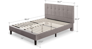 Zinus Upholstered Button-Tufted Platform Bed for Casper Mattress